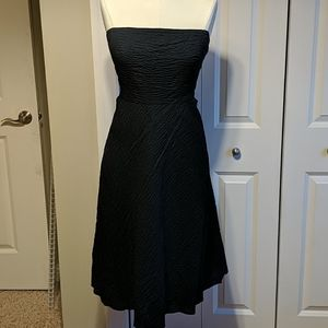 J Crew strapless navy blue seersucker dress